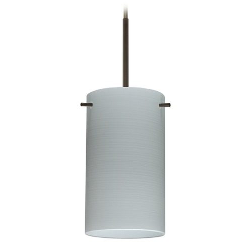 Besa Lighting Besa Lighting Stilo Bronze Mini-Pendant Light with Cylindrical Shade 1BT-4404KR-BR