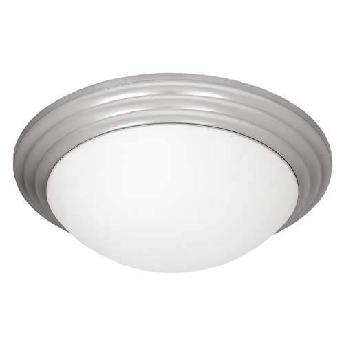 Access Lighting Modern Flushmount Light with White Glass in Brushed Steel Finish 20650-BS/OPL