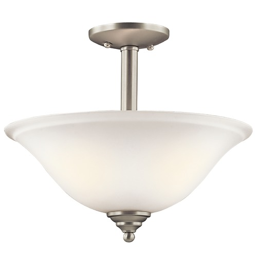 Kichler Lighting Kichler Brushed Nickel Semi-Flushmount Light with White Glass 3694NIW