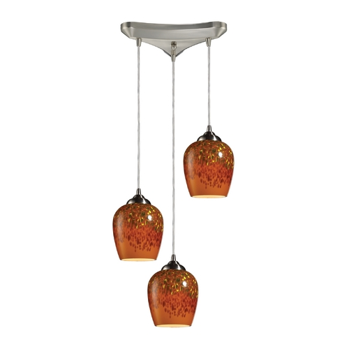 Elk Lighting Modern Multi-Light Pendant Light with Brown Glass and 3-Lights 10145/3AUT