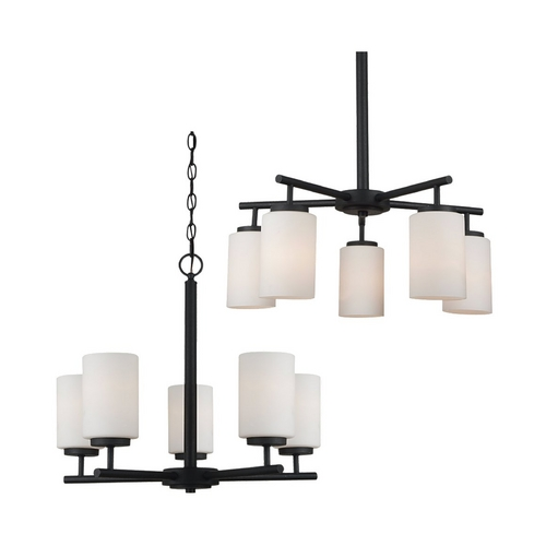 Sea Gull Lighting Modern Chandelier with White Glass in Blacksmith Finish 31161BLE-839
