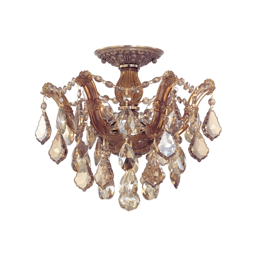 Crystorama Lighting Crystal Semi-Flushmount Light in Antique Brass Finish 4430-AB-GT-MWP