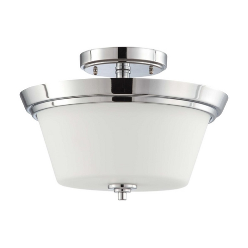 Nuvo Lighting Modern Semi-Flushmount Light with White Glass in Polished Chrome Finish 60/4087
