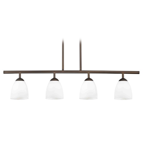 Design Classics Lighting Modern Island Light with White Glass in Neuvelle Bronze Finish 718-220 GL1024MB