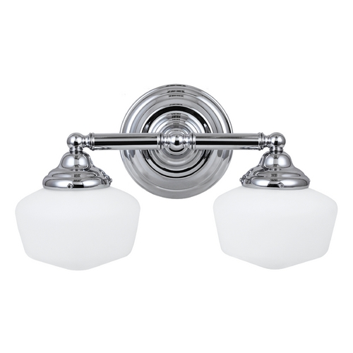 Sea Gull Lighting Schoolhouse Bathroom Light with White Glass in Chrome Finish 44437-05