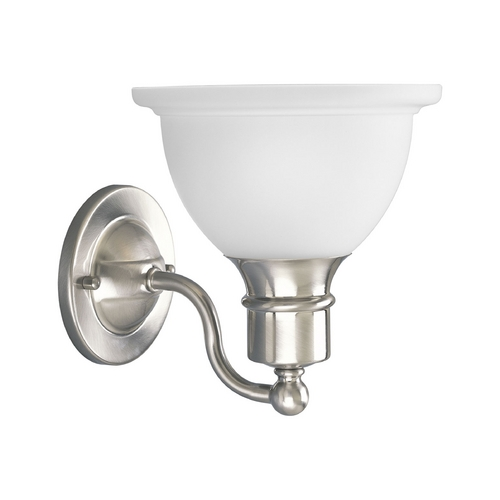 Progress Lighting Progress Sconce Wall Light with White Glass in Brushed Nickel Finish P3161-09