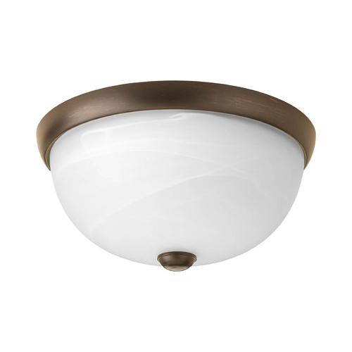 Progress Lighting Modern Flushmount Light with Alabaster Glass in Antique Bronze Finish P3687-20WB