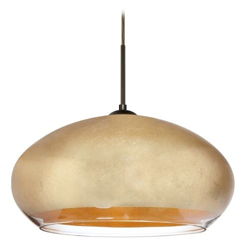 Besa Lighting Besa Lighting Brio Bronze LED Pendant Light with Oblong Shade 1JT-4345GF-LED-BR