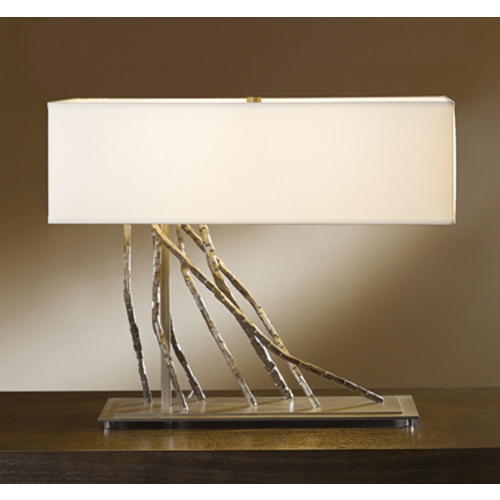 Hubbardton Forge Lighting Hubbardton Forge Lighting Brindille Burnished Steel Table Lamp with Rectangle Shade 277660-SKT-08-SF2010