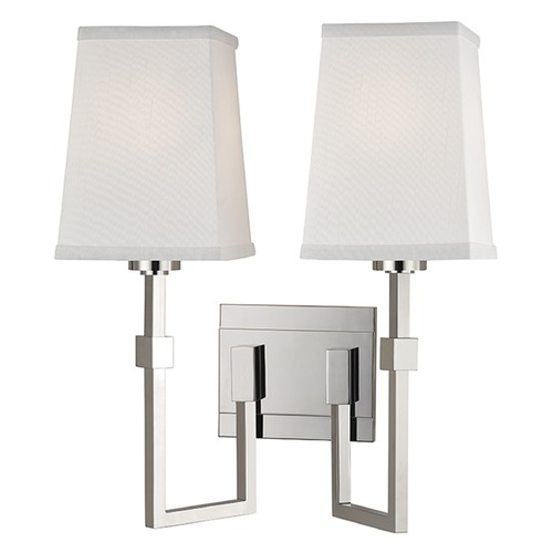 Hudson Valley Lighting Fletcher 2 Light Sconce Square Shade - Polished Nickel 1362-PN