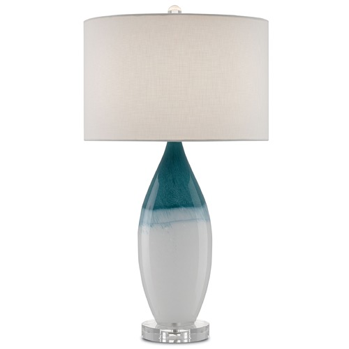 Currey and Company Lighting Currey and Company Julien White/blue/polished Nickel/clear Table Lamp with Drum Shade 6000-0063