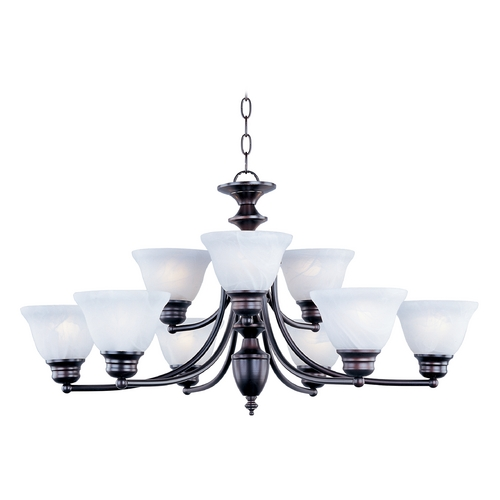 Maxim Lighting Chandelier with Alabaster Glass Shades in Oil Rubbed Bronze Finish 2685MROI