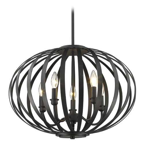 Z-Lite Z-Lite Moundou Bronze Pendant Light with Oval Shade 438-20BRZ