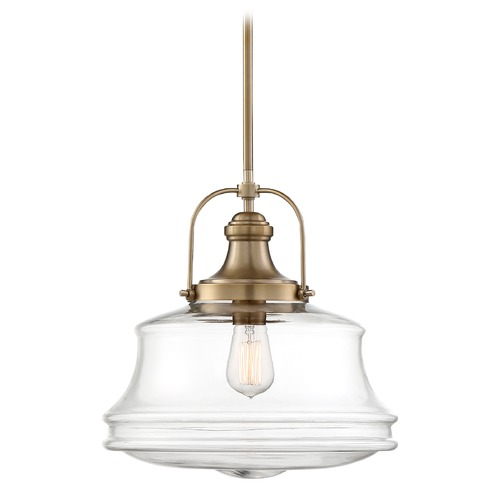 Nuvo Lighting Satco Lighting Basel Burnished Brass Pendant Light with Bowl / Dome Shade 60/6757