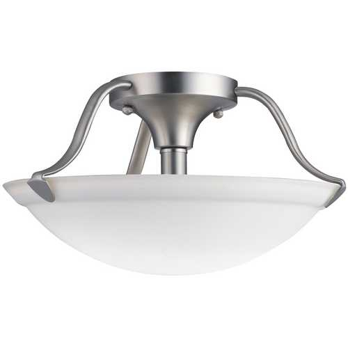 Kichler Lighting Kichler Brushed Nickel Semi-Flushmount Light with White Glass 3620NI