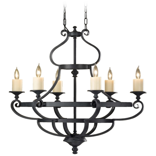 Feiss Lighting Chandelier in Antique Forged Iron Finish F2517/6AF