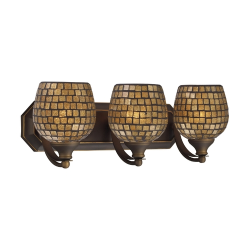 Elk Lighting Bathroom Light with Art Glass in Aged Bronze Finish 570-3B-GLD