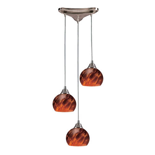 Elk Lighting Multi-Light Pendant Light with Brown Glass and 3-Lights 101-3ES