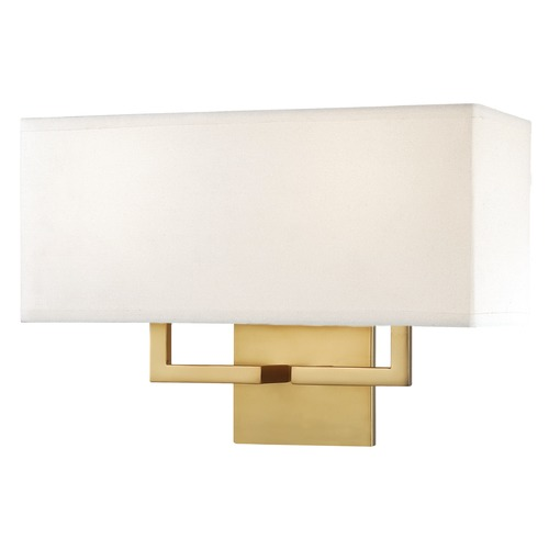 Modern Gold Wall Lights : Modern Sconce Wall Light with White Shades in Honey Gold Finish P472-248 Destination Lighting