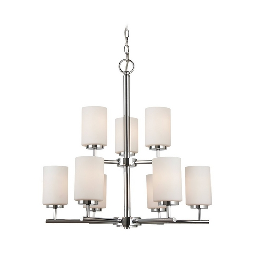 Sea Gull Lighting Oslo Modern 9-Light Chrome 2-Tier Chandelier with Etched White Glass 31162-05