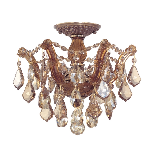 Crystorama Lighting Crystal Semi-Flushmount Light in Antique Brass Finish 4430-AB-GTS
