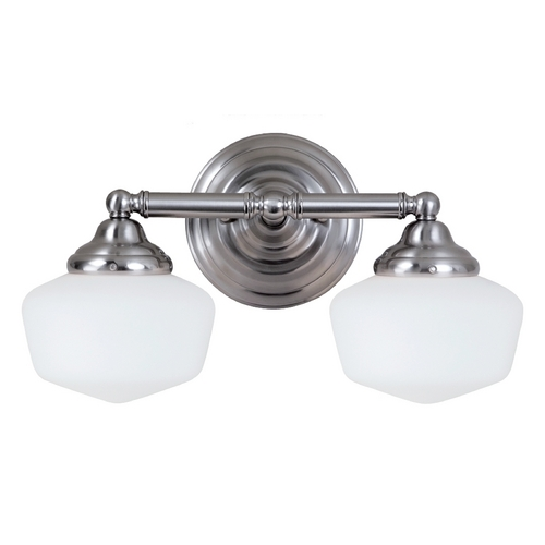 Sea Gull Lighting Schoolhouse Bathroom Light with White Glass in Brushed Nickel Finish 44437-962