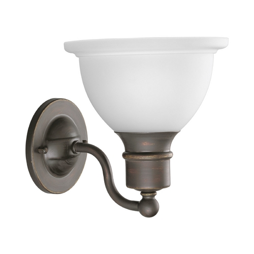Progress Lighting Progress Sconce Wall Light with White Glass in Antique Bronze Finish P3161-20