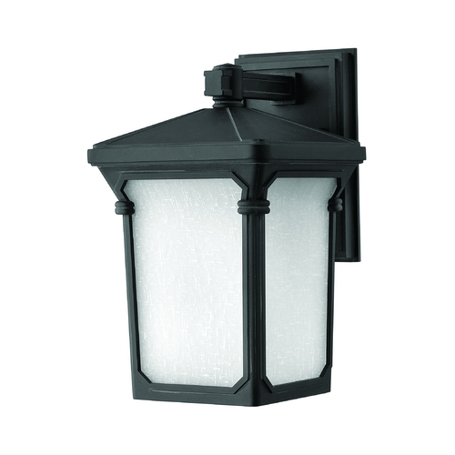 Hinkley Lighting Outdoor Wall Light with White Glass in Museum Black Finish 1350MB