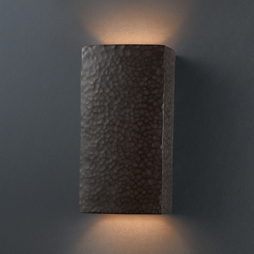 Justice Design Group Sconce Wall Light in Hammered Iron Finish CER-5915-HMIR