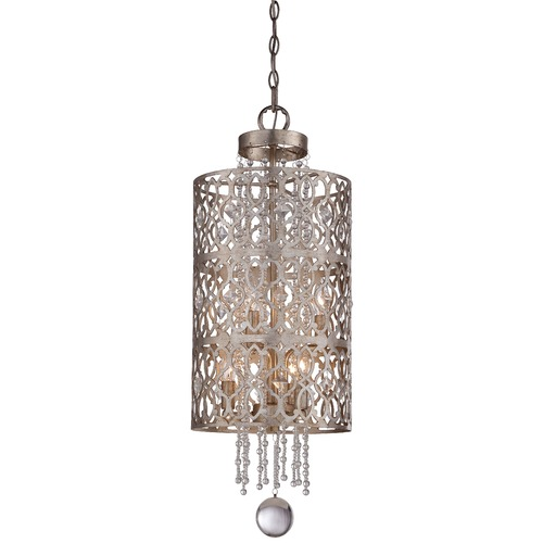 Minka Lavery Minka Lucero Florentine Silver Pendant Light with Cylindrical Shade 4846-276