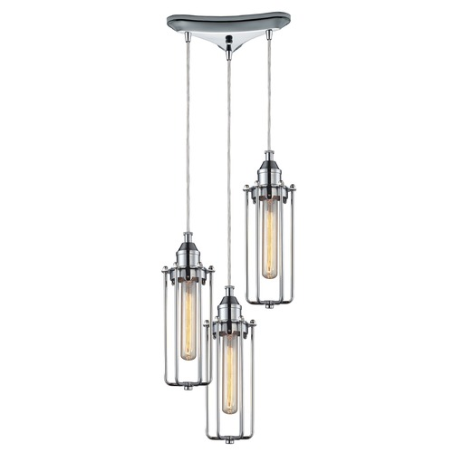 Elk Lighting Elk Lighting Fulton Polished Chrome Multi-Light Pendant 66317/3