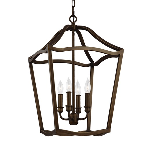 Feiss Lighting Feiss Lighting Yarmouth Painted Aged Brass Pendant Light F2975/4PAGB