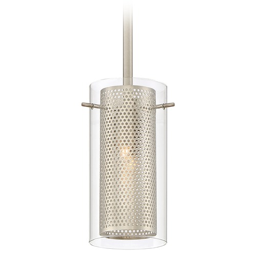Quoizel Lighting Quoizel Lighting Quoizel Piccolo Pendant Brushed Nickel Mini-Pendant Light with Cylindrical Shade QPP2050BN
