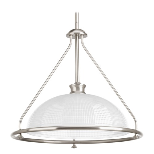 Progress Lighting Progress Lighting Lucky Brushed Nickel Pendant Light with Bowl / Dome Shade P5119-09