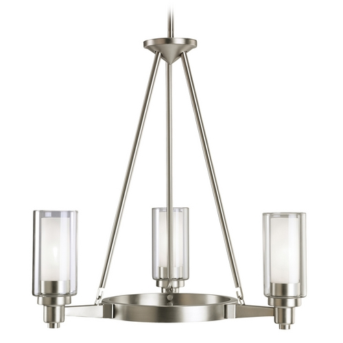 Kichler Lighting Kichler Modern Chandelier with Clear Glass in Brushed Nickel Finish 2343NI