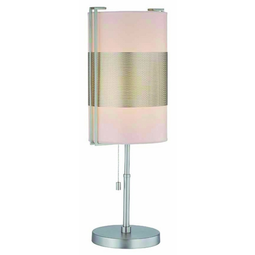 Lite Source Lighting Modern Table Lamp with Black Shade in Satin Steel Finish LS-21474SS/WHT