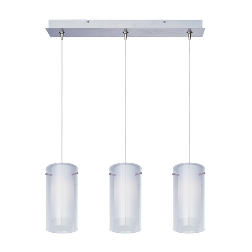 ET2 Lighting Modern Low Voltage Multi-Light Pendant Light with White Glass and 3-Lights E94844-10SN