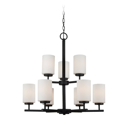 Sea Gull Lighting Modern Chandelier with White Glass in Blacksmith Finish 31162-839