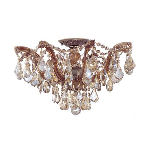 Crystorama Lighting Crystal Semi-Flushmount Light in Antique Brass Finish 4437-AB-GT-MWP