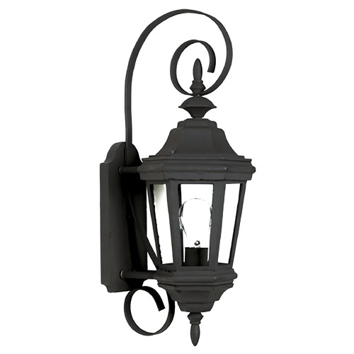 Kenroy Home Lighting Outdoor Wall Light with Clear Glass in Black Finish 16312BL