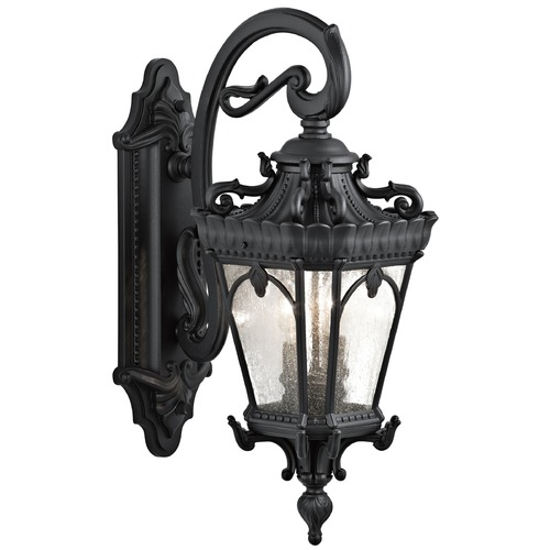 Kichler Lighting Kichler Outdoor Wall Light with Clear Glass in Textured Black Finish 9357BKT