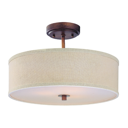 Design Classics Lighting Bronze Drum Shade Ceiling Light - 16-Inches Wide DCL 6543-604 SH7493 KIT