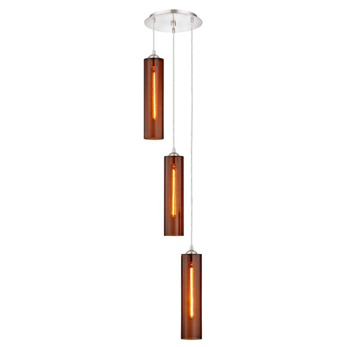 Design Classics Lighting Gala Fuse Satin Nickel Multi-Light Pendant with Cylindrical Shade 583-09 GL1651C