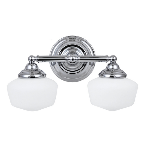 Sea Gull Lighting Schoolhouse Bathroom Light with White Glass in Chrome Finish 44437BLE-05