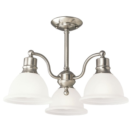 Progress Lighting Progress Chandelier with White Glass in Brushed Nickel Finish P3663-09