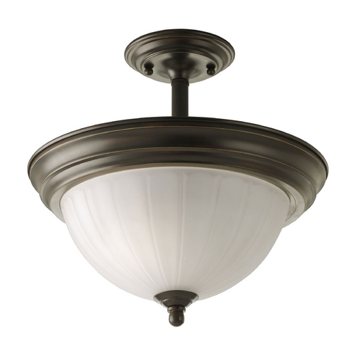 Progress Lighting Progress Semi-Flushmount Light with White Glass in Bronze Finish P3876-20