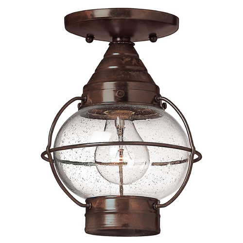 Hinkley Lighting LED Close To Ceiling Light with Clear Glass in Sienna Bronze Finish 2203SZ-LED