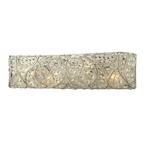 Elk Lighting Crystal Bathroom Light in Aged Silver Finish 11691/4