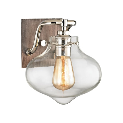 Elk Lighting Elk Lighting Kelsey Weathered Zinc, Polished Nickel Sconce 31940/1