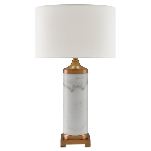 Currey and Company Lighting Currey and Company Brockworth White/antique Brass Table Lamp with Drum Shade 6000-0065